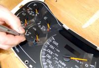 Make dials with tape.: Mark the dial locations when rotated counterclockwise so you know where to line them up when the new stepper motors are installed.